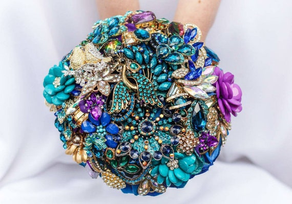 READY to SHIP Brooch Bouquet Custom Bridal Broach Bouqet Gold Teal Royal Blue Purple Peacock Emerald Green Jeweled Wedding Bouquet
