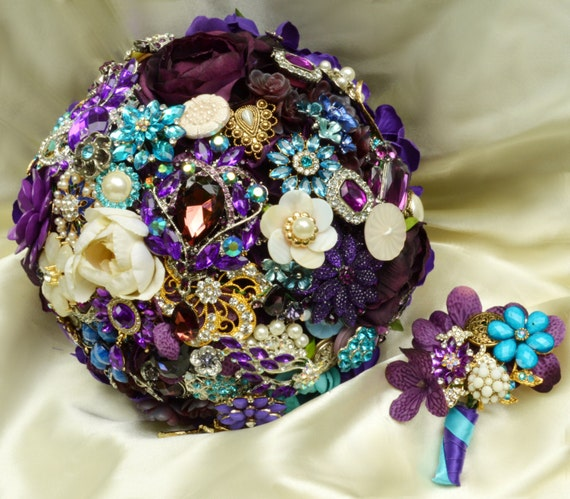 DEPOSIT ON Military Wedding Family Heirloom Keepsake Brooch Bouquet Bridal Blue Purple Turquoise Teal Ivory Pearl Broach Bouqet