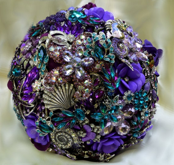 DEPOSIT on a Completely Customized Bridal Brooch Bouquet Beach Wedding Purple Silver Lavender Teal Turquoise Blue Crystal Broach Bouqet