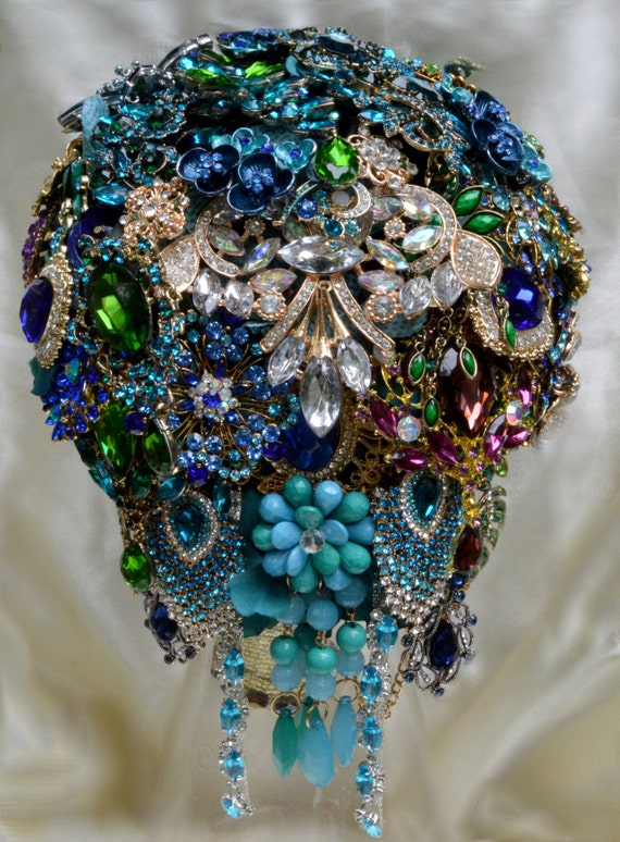DEPOSIT on CUSTOM MADE Bidal Brooch Bouquet Teal Gold Peacock Cascading Broach Bouqet  Royal Blue Turquoise Green Purple Crystals