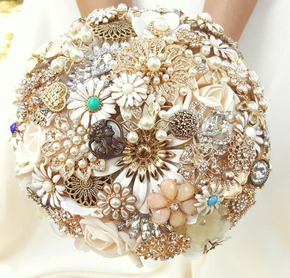 FULL PRICE CUSTOM Order Large Brooch Bouquet Cream Gold Silver Ivory Elegant Crystal Pearl Bridal Broach Wedding Bouqet