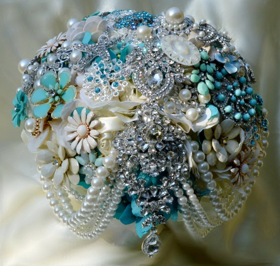 DEPOSIT on a CUSTOM MADE Bridal Brooch Bouquet Aqua Ivory Turquoise Blue White Semi Cascading Beach Wedding Broach Bouquet