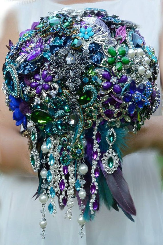 DEPOSIT ON CUSTOM Brooch Bouquet Peacock Wedding Cascade Bridal Broach Bouqet Teal Blue Purple Silver Black Emerald Green Peacock Feathers