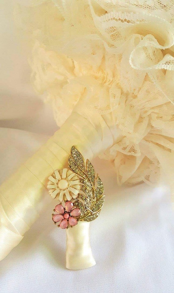 DEPOSIT ON Cream Champagne Blush Pink Mint Green and Lace Bridal Brooch Bouquet Silver Gold Broach Bouqet