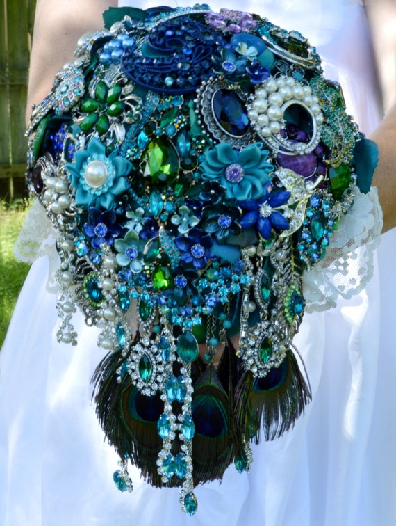 FULL PRICE CUSTOM Made Peacock Cascading Bridal Brooch Bouquet Peacock Feathers Cascade Teal Turquoise Blue Green Pearl Purple