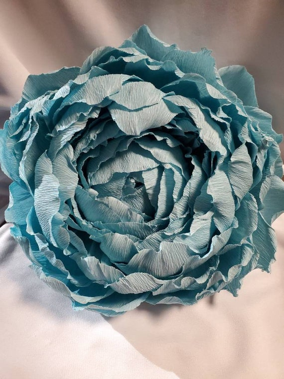 Custom Order Giant Crepe Paper Flower Large Peony Rose Blue Teal Dusy Baby Blue Room Wall Mounted Wall Decor