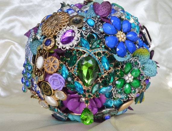 ASSEMBLY SERVICE Full PRICE Custom Made Peacock Bridal Brooch Bouquet Purple Teal Royal Blue Turquoise Emerald Green Custom Order