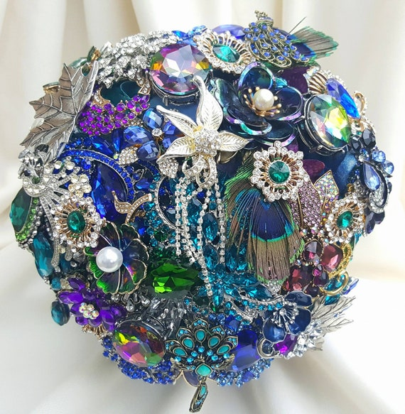 DEPOSIT on CUSTOM MADE Bridal Brooch Bouquet Peacock Wedding Broach Bouqet Teal Green Purple Turquoise Gold Silver Pearl royal Blue
