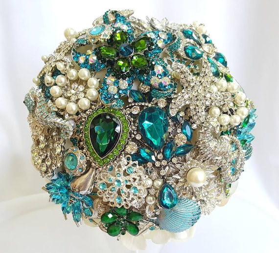DEPOSIT on a Customized Bridal Wedding Brooch Bouquet and Wrist Corsage Pearl Silver Emerald Green Teal Turquoise Blue Crystal Broach Bouqet