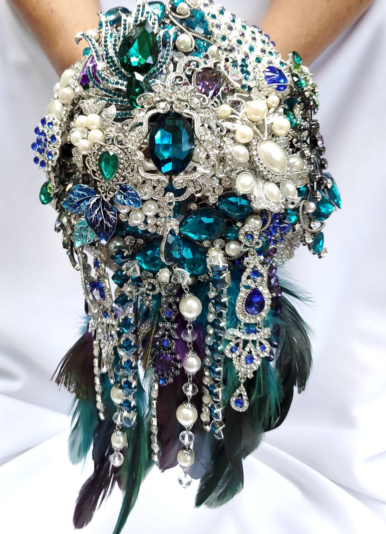 Full Price Custom Cascading Brooch Bouquet Peacock Broach Bouqet Peacock Wedding Teal Purple Black Gray Silver Pearls Green Blue