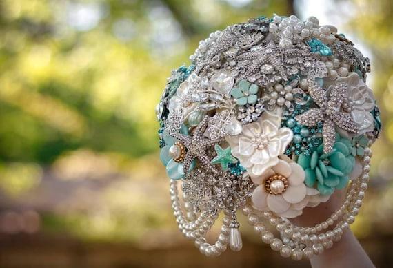 DEPOSIT on a CUSTOM MADE Bridal Brooch Bouquet Aqua Ivory Turquoise Blue White Semi Cascading Beach Wedding Broach Bouquet