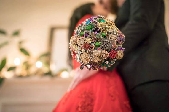 DEPOSIT on Brooch Bouquet CUSTOM MADE Bridal Broach Bouqet Peacock Wedding Red Black Pink Purple Blue Green Gold