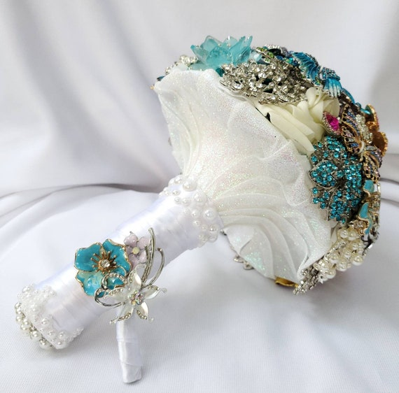 DEPOSIT ON Beach Wedding Brooch Bouquet White Turquoise Teal Blue Pink Lavender Ivory Iridescent Pearl Bridal Broach Bouqet Silver Gold