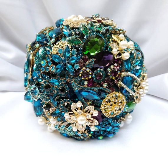 DEPOSIT on Brooch Bouquet CUSTOM MADE Bridal Broach Bouqet and Boutonniere Peacock Wedding Blue Green Gold Teal Crystal Turquoise