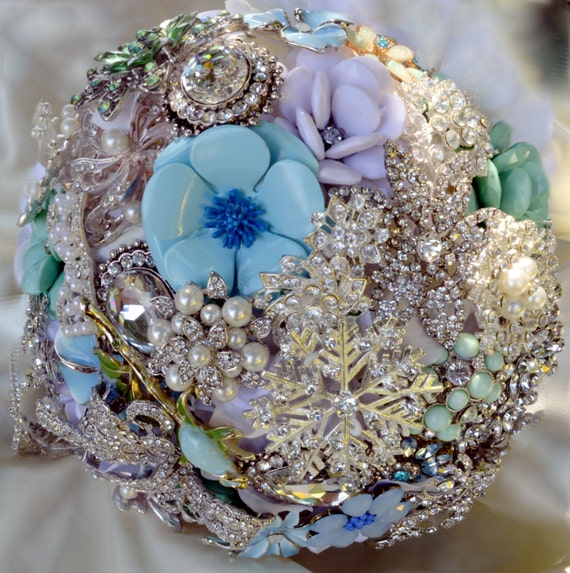 DEPOSIT on a CUSTOM MADE Bridal Brooch Bouquet Crystal White Pearl Ivory Mint Green Powder Baby Blue Winter Wedding Snowflake Broach Bouqet