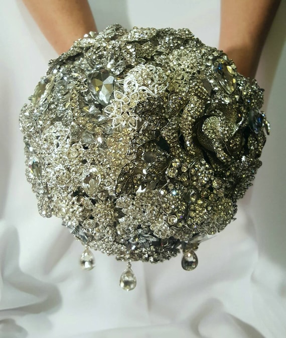 DEPOSIT ON Brooch Bouquet Custom Bridal Broach Bouqet Silver Clear Crystal Sparkly Bling Jeweled Bouqet Red Handle