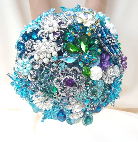 DEPOSIT on a Customized Bridal Wedding Brooch Bouquet Pearl Silver Emerald Green Teal Turquoise Ivory Blue Crystal Broach Bouqet