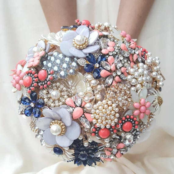 FULL PRICE on a CUSTOM Brooch Bouquet Coral Navy Blue Cream Pearl Gray Crystal Salmon Peach Pink Orange Grey Bridal Wedding Broach Bouqet