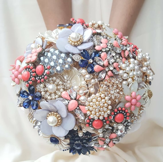 FULL PRICE on a CUSTOM Brooch Bouquet Coral Navy Blue Cream Pearl Gray Crystal Salmon Peach Pink Orange Grey Bridal Wedding Broach Bouqet