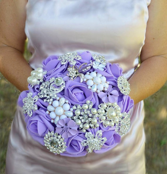 CUSTOM Order for FULL PRICE Bridal Brooch Bouquet Lavender Purple and White Silver Crystal Broach Bridesmaid/Toss Bouqet