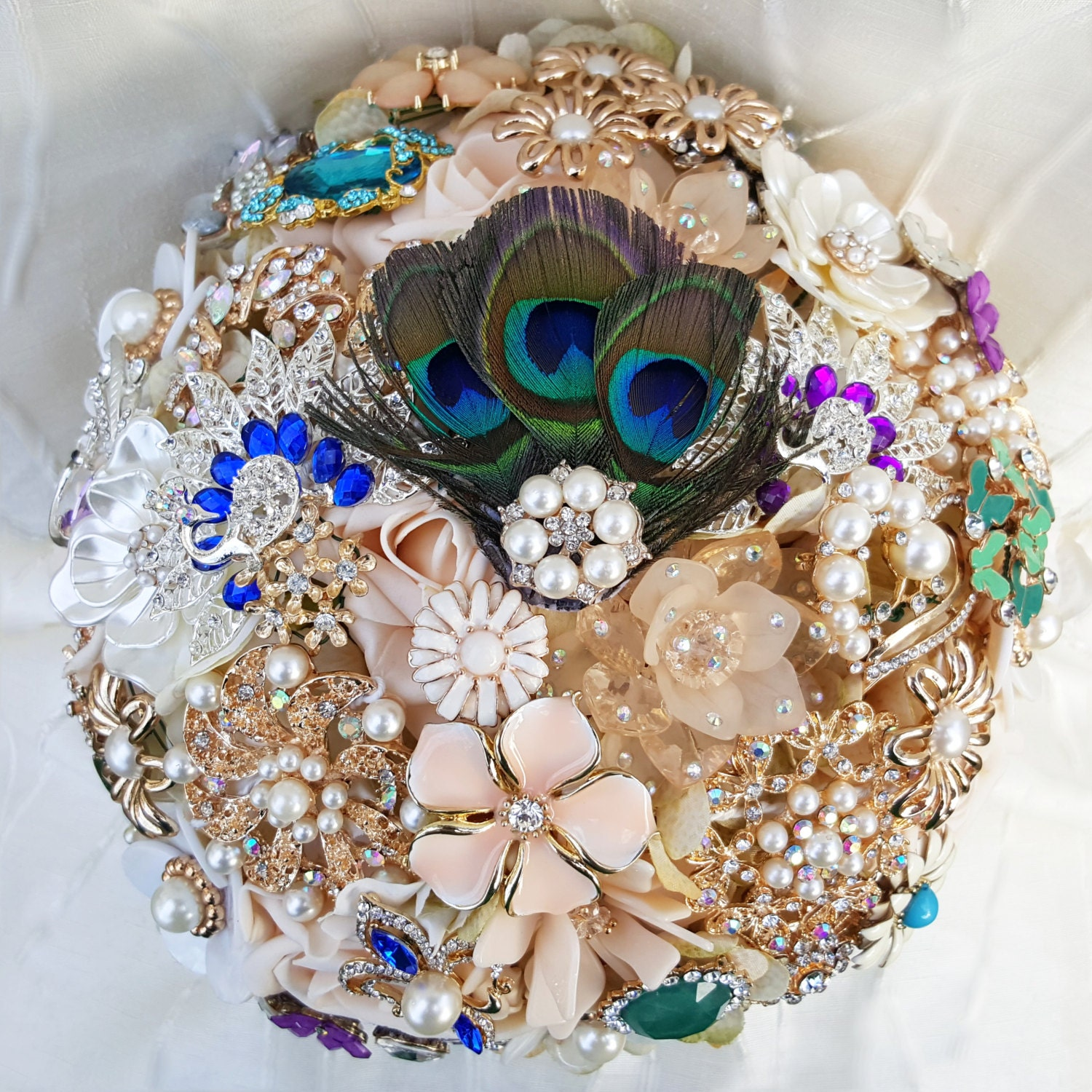 e0b9e18ba FULL PRICE Brooch Bouquet Champagne and Peacock Feathers ...