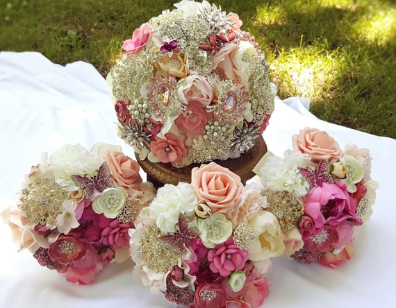 FULL PRICE Wedding Package Bridal and Bridesmaid Brooch Bouquets Custom Order Pink White Ivory Crystal Peach Salmon Blush