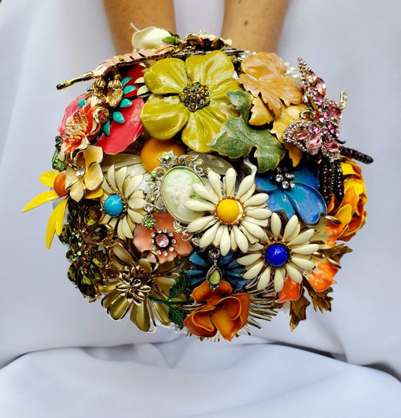 READY to SHIP Vintage Colorful LARGE Bridal Brooch Bouquet Aqua White Daisy Purple Silver Gold Yellow Orange Blue Green Ivory Broach Bouqet