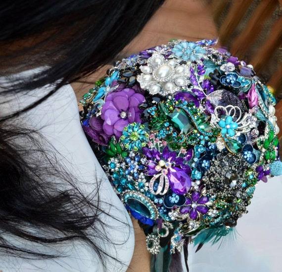 DEPOSIT on Brooch Bouquet CUSTOM MADE Bridal Broach Bouqet Peacock Wedding Blue Green Silver Purple Pearl Black Teal Crystal Turquoise