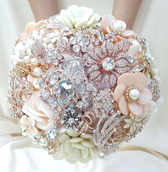 READY to SHIP Full Price LARGE 10 Inch Diameter Rose Gold Blush Ivory White Pearl Bridal Brooch Bouquet Wedding Broach Bouqet