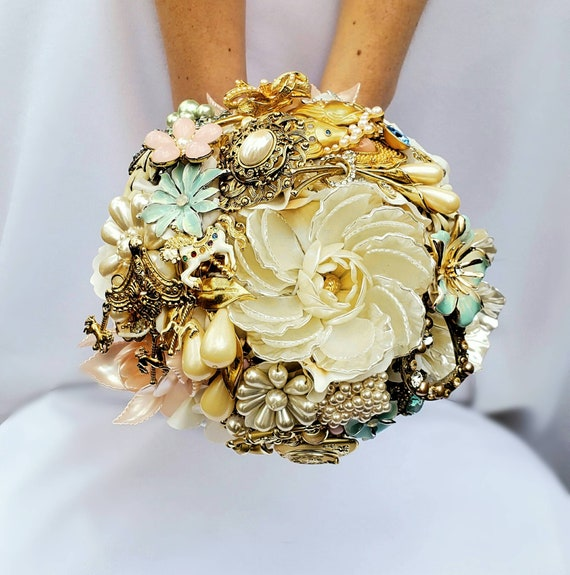 READY to SHIP Full Price Gold Blush Pink Ivory White Pearl Powder Blue Large Bridal Brooch Bouquet Carnival Carousel Wedding Broach Bouqet
