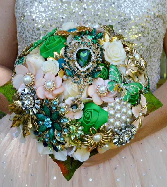 SALE! FULL PRICE Ready to Ship 2 Bouquets Bridal Brooch Bouquet Package Bridal & Bridesmaid/Toss Broach Bouquet Green Peach Coral Pearl Gold