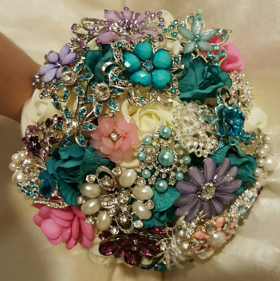 CUSTOM Order FULL PRICE Bridal Brooch Bouquet White Tuquroise Roses Silver Crystal Purple Pink Pearl Broach Bridesmaid/Toss Bouqet