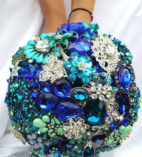 DEPOSIT on a Customized Bridal Wedding Brooch Bouquet Silver Royal Blue Aqua Crystal Malibu Blue Teal Turquoise Blue Crystal Broach Bouqet