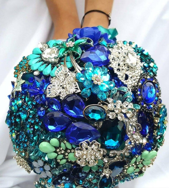 DEPOSIT on a Customized Bridal Wedding Brooch Bouquet Silver Royal Blue Aqua Crystal Malibu Blue Teal Turquoise Blue Crystal Broach Bouqet