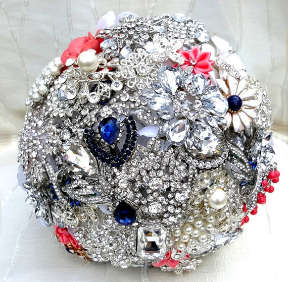 FULL PRICE on a CUSTOM Made Brooch Bouquet Coral Navy Blue White Crystal Salmon Peach Pink Orange Bridal Wedding Jeweled Bouqet