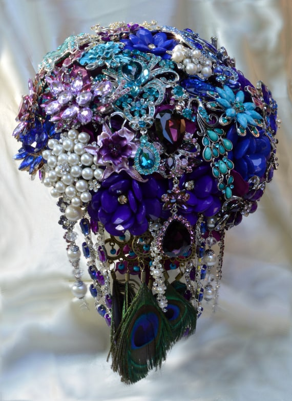 DEPOSIT on CUSTOM MADE Bridal Brooch Cascading Bouquet Purple Royal Blue Teal Silver Royal Purple Broach Wedding Bouqet