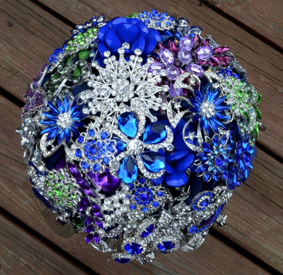 FULL PRICE on CUSTOM Made Bridal Brooch Bouquet Peacock Wedding Broach Bouqet Cobalt Blue Crystal Clove Green Purple Silver Royal Blue