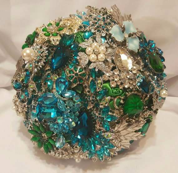 DEPOSIT on a Completely Customized Bridal Wedding Brooch Bouquet Pearl Silver Emerald Green Teal Turquoise Blue Crystal Broach Bouqet