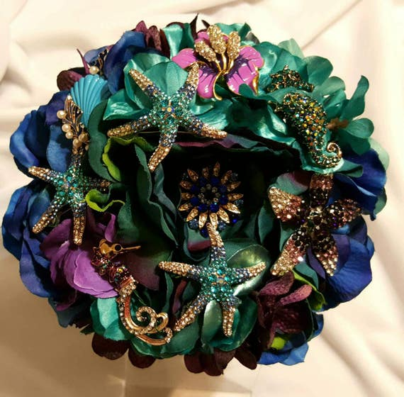 DEPOSIT Ocean Beach Wedding Brooch Toss Bouquet Bridal Bouqet Purple Royal Blue Aqua Teal Turquoise Sea Shells Seahorse Starfish Broach
