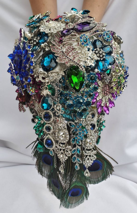 FULL PRICE CUSTOM Made Peacock Cascading Bridal Brooch Bouquet Cascade Cobalt Blue Royal Blue Clove Green Silver Crystal Purple