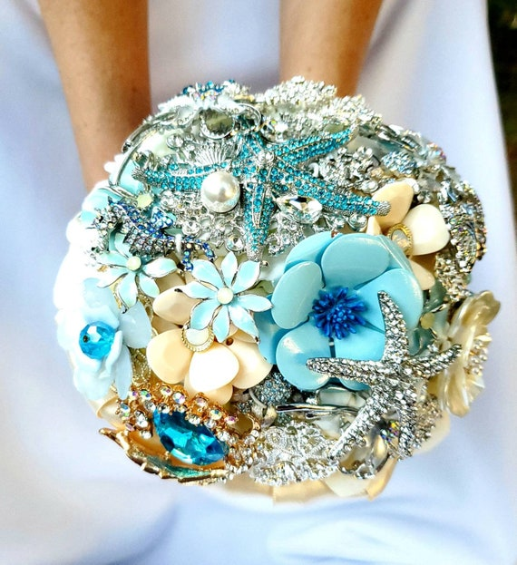 DEPOSIT on CUSTOM Bridal Brooch Bouquet Beach Wedding Teal Silver Turquoise Dusty Baby Blue Pearl Ocean Beach Wedding Crystal Broach Bouqet