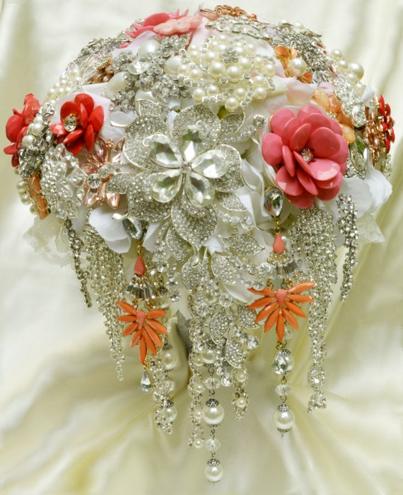 DEPOSIT ON CUSTOM Cascading Brooch Bridal Bouquet Coral Peach Salmon Pink White Pearl Crystal Clear Silver Wedding Broach Bouqet