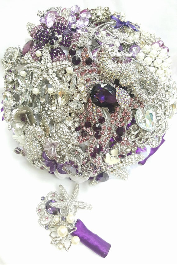 FULL PRICE CUSTOM Bridal Bouquet Package 6 Piece Purple Silver Aquarium Beach Wedding Ocean Seahorse Starfish Broach Bouqet