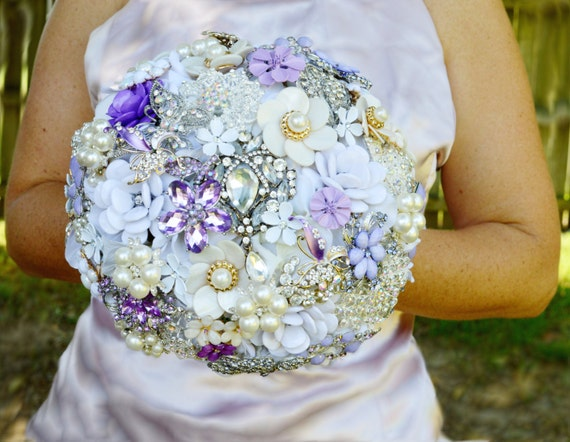 FULL PRICE on CUSTOM (one) Brooch Bouquet White and Lavender Purple Peal Ivory Crystal Bridal Broach Bouqet