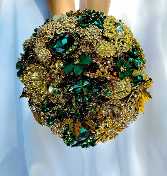 FULL PRICE on CUSTOM Made Bridal Brooch Bouquet Wedding Broach Bouqet Gold Emerald Hunter Green Brown Champagne Amber Bouqet