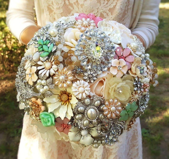 DEPOSIT ON CUSTOM White Champagne Mint Green Blush Pink and Lace Bridal Brooch Bouquet Jeweled Wedding Broach Bouquet