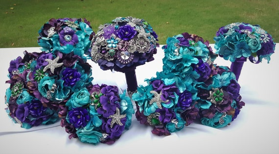 DEPOSIT PAYMENT Bridal Bouquet Package 10 Piece Purple Blue Teal Silver Emerald Green Aquarium Beach Wedding Ocean Seahorse Starfish Broach