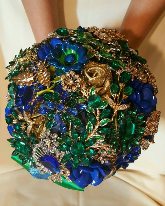 FULL PRICE on CUSTOM Made Bridal Brooch Bouquet Wedding Broach Bouqet Cobalt Blue Gold Royal Blue Emerald Green Bouqet