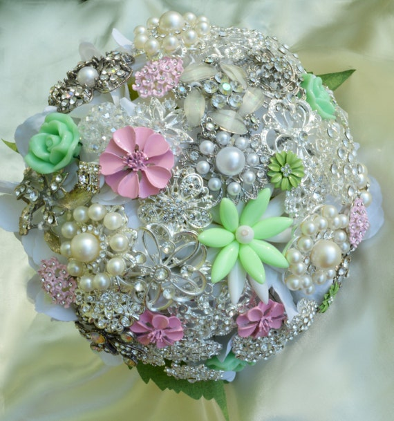 DEPOSIT ON White Mint Green Blush Pink Bridal Brooch Bouquet Jeweled Wedding Broach Bouquet