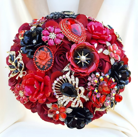 SALE! Ready to SHIP Full Price LARGE Bridal Brooch Bouquet Red Crimson Burgundy Black Gold Wedding Broach Bouqet